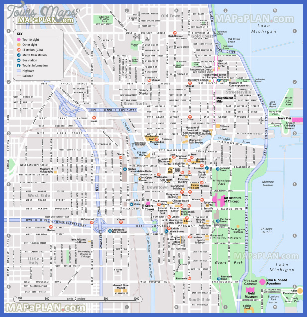 chicago map tourist attractions 1 Chicago Map Tourist Attractions