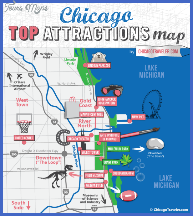 Hilaire image for chicago tourist map printable