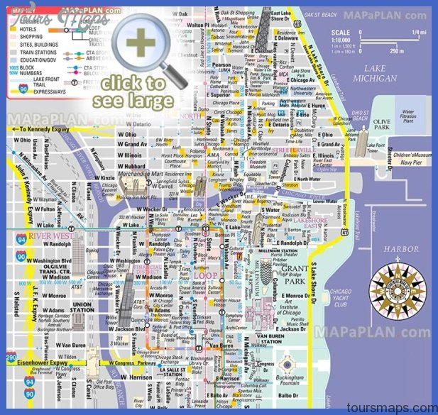 chicago top tourist attractions map 02 free inner city shopping main landmark great sight famous building historic spot Chicago Map Tourist Attractions