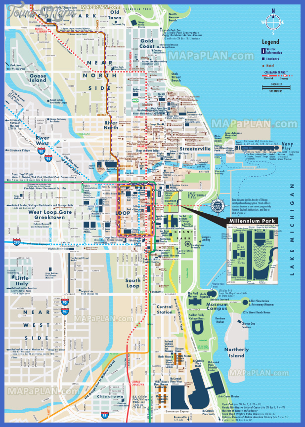 chicago top tourist attractions map 03 street road name plan central most popular point interest elevated metra stops high resolution Chicago Map Tourist Attractions