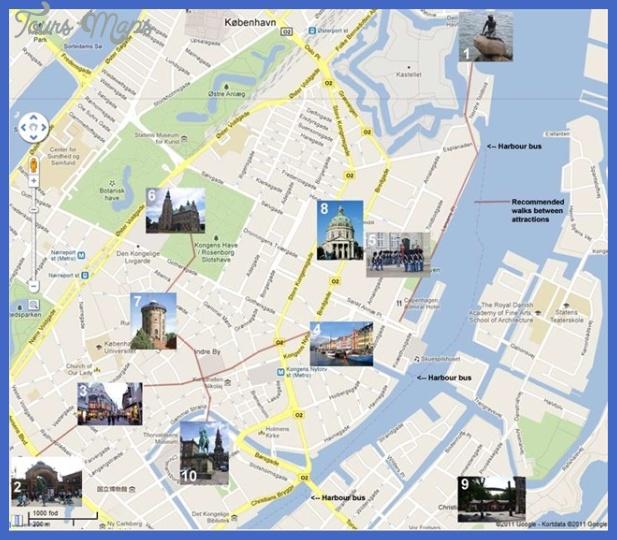 Copenhagen Map Tourist Attractions 2jpg ToursMapscom