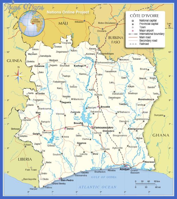 cote divoire political map Cote dIvoire Metro Map