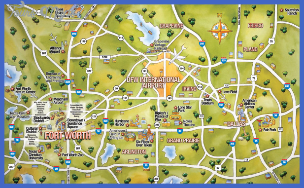 Dallas map tourist attractions for Fish store fort worth