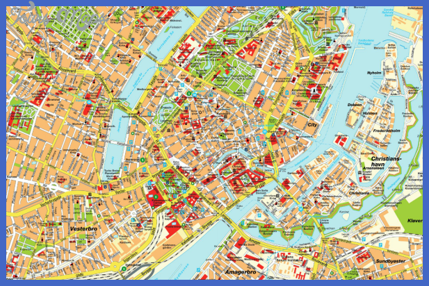 Copenhagen Map Tourist Attractions ToursMapsCom – Copenhagen Tourist Attractions Map