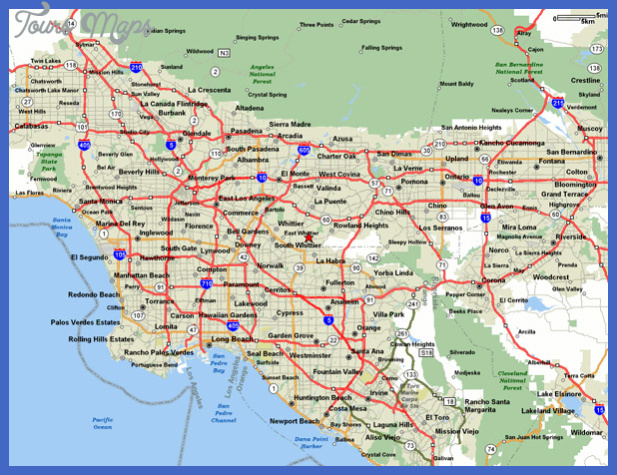 detailed road map and highways map of los angeles area 1 Los Angeles Map
