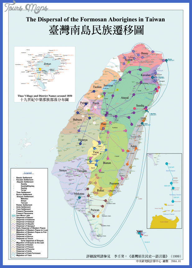 dispersal offormosa aborigines of taiwan map Taiwan Map Tourist Attractions