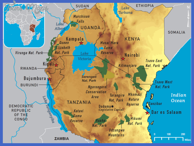 eastafricamap Tanzania Map Tourist Attractions