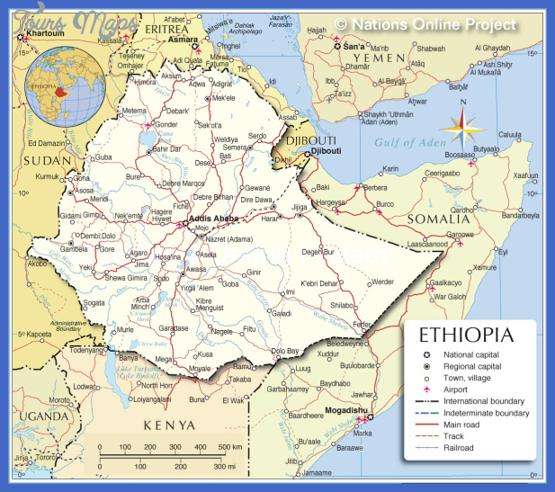 Ethiopia Map Tourist Attractions ToursMapscom