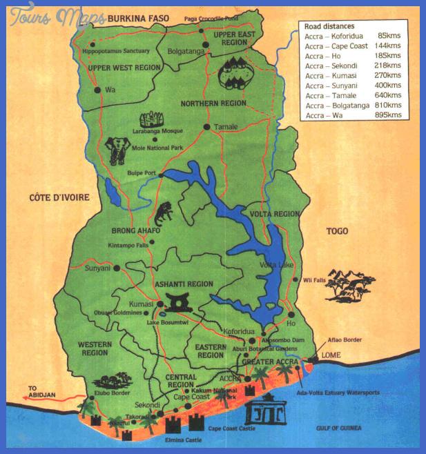 ghana 3tourist map Cote dIvoire Map Tourist Attractions