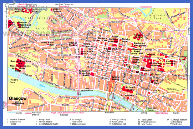 glasgow map Plano Map Tourist Attractions