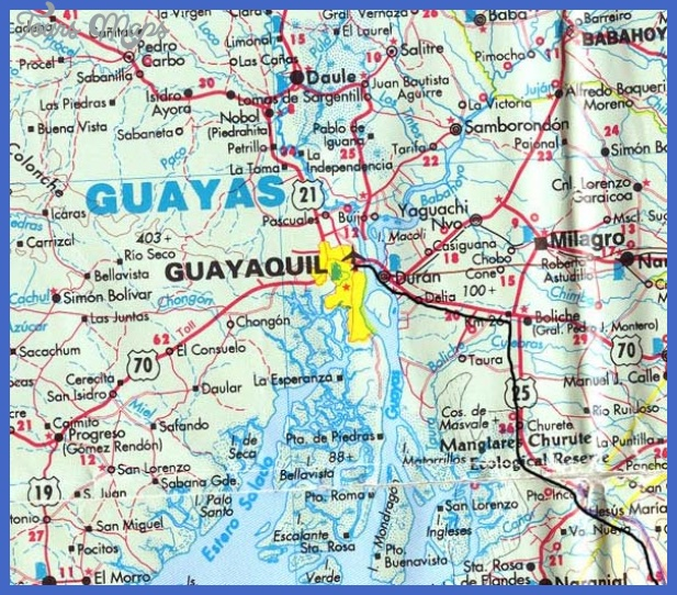 guayaquil map1 Ecuador Map Tourist Attractions