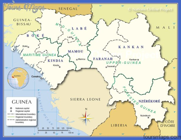 administrative map of guinea map based on a un map