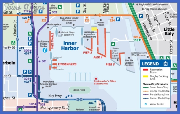 harbor map Baltimore Map Tourist Attractions