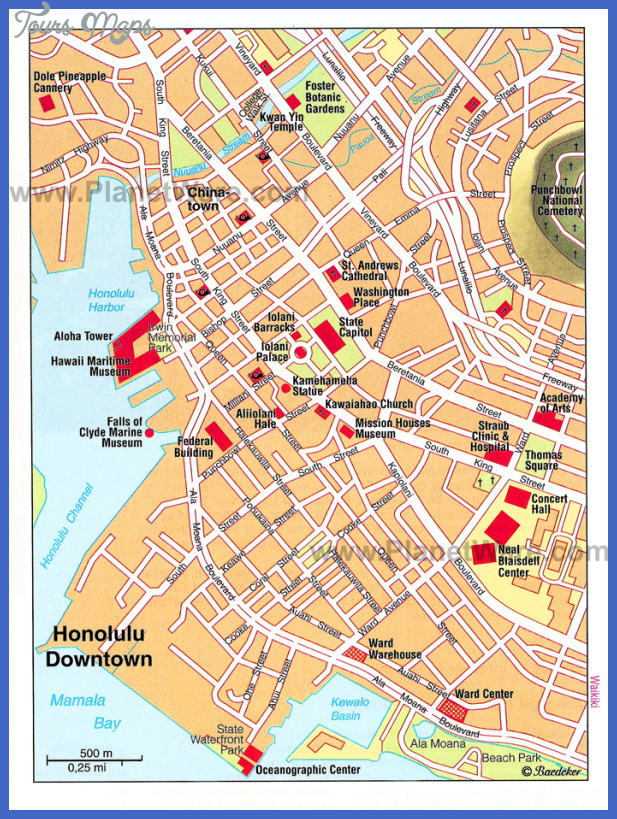 honolulu downtown map Urban Honolulu Map Tourist Attractions