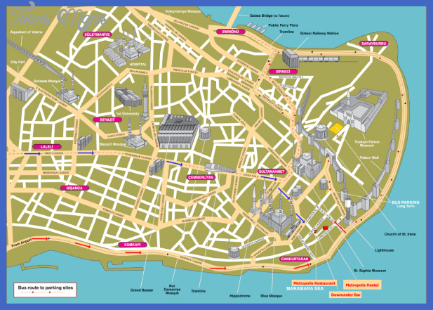 istanbul tourist map Turkey Map Tourist Attractions