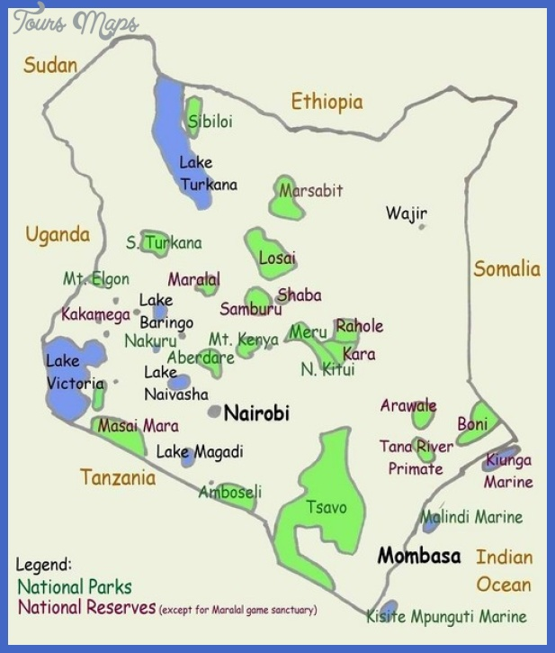 kenya tourist map mediumthumb Tanzania Map Tourist Attractions