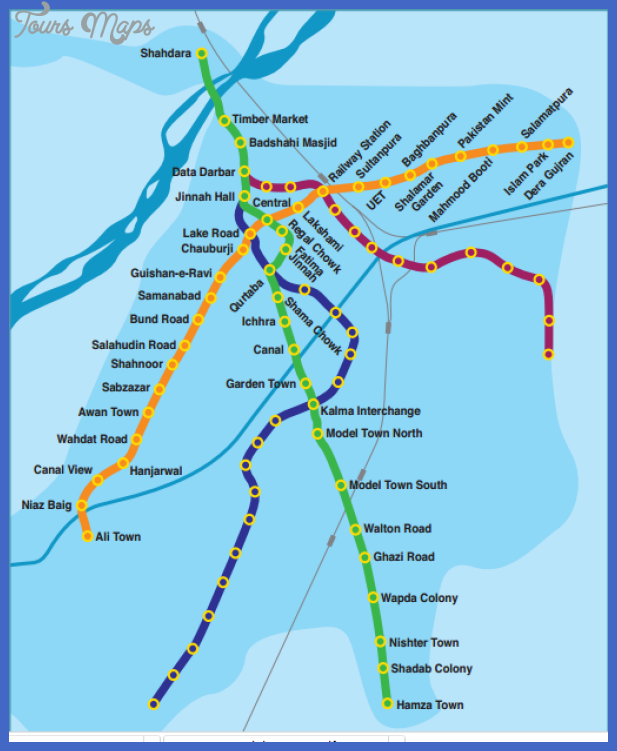 lahore metro train route map from ali town to dere gujjran Pakistan Metro Map