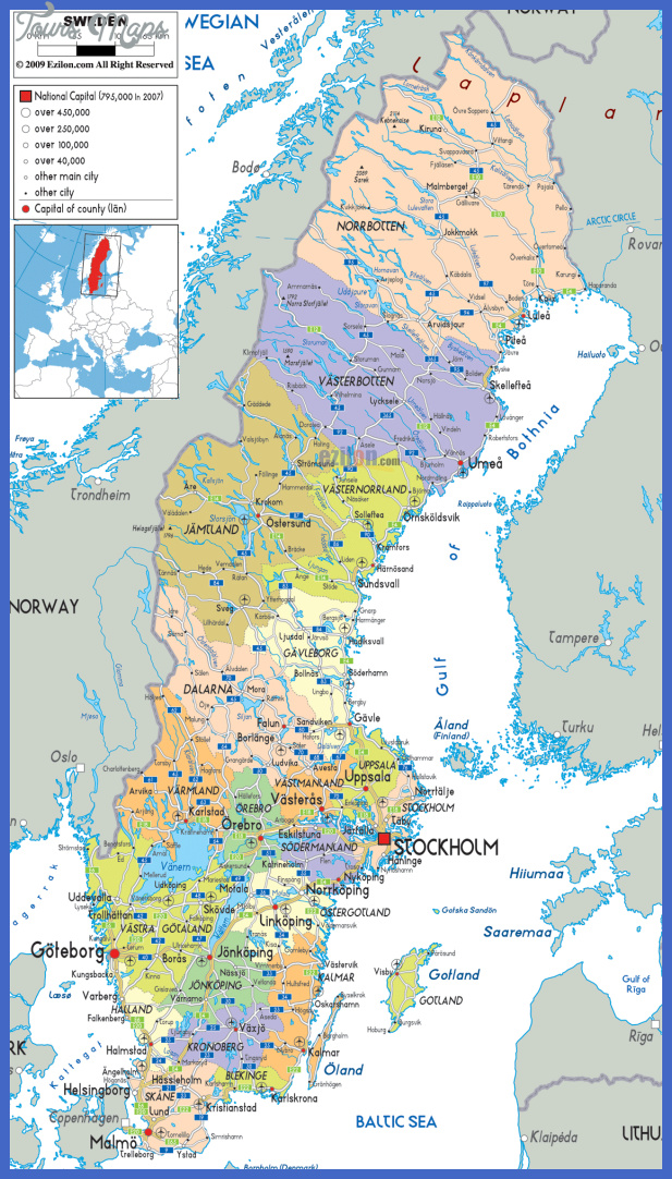 large detailed political and administrative map of sweden with all roads cities and airports Sweden Metro Map