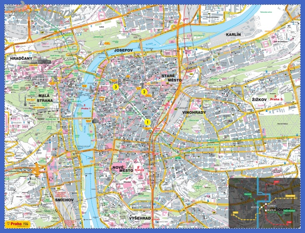 large detailed road and tourist map of prague city Czech Republic Map Tourist Attractions