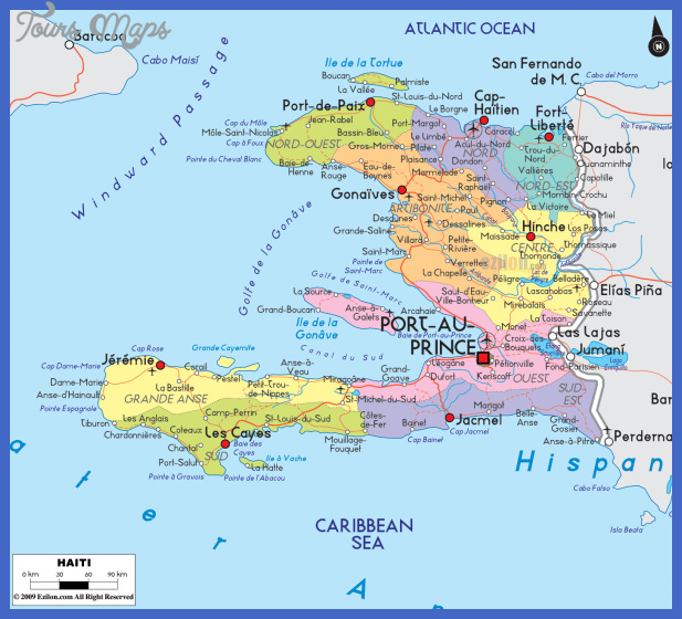 large detailed political and road map of haiti with cities Haiti Map