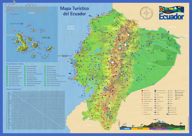 large detailed tourist map of ecuador with roads Ecuador Map Tourist Attractions