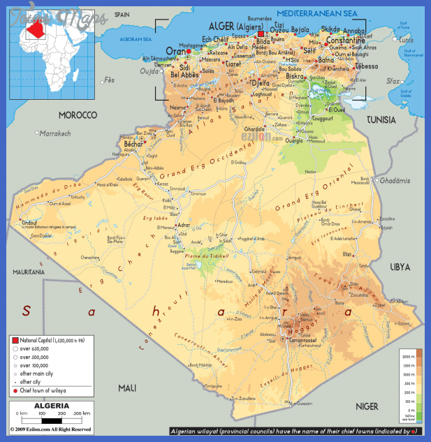 large physical and road map of algeria Algeria Map