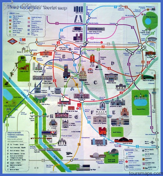 Madrid Map Tourist Attractions ToursMapscom