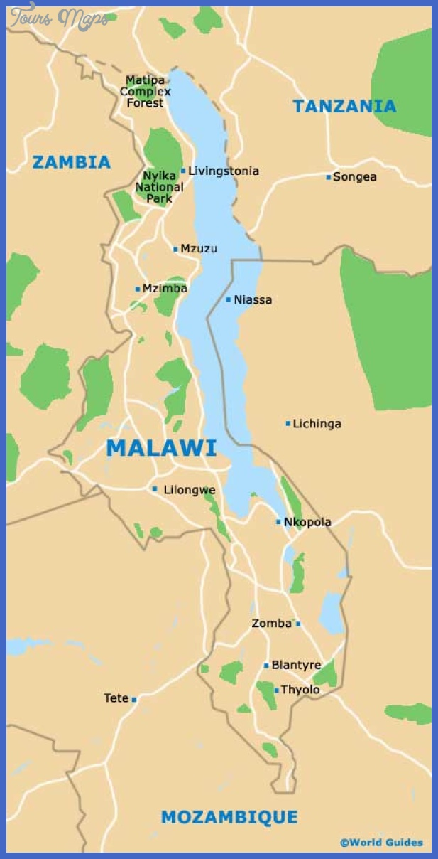 Malawi Map Tourist Attractions ToursMapscom