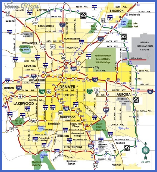 Denver Map Tourist Attractions ToursMapscom