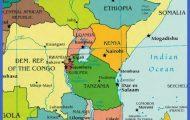 Map of eastern Africa showing Rwanda, Congo and Kenya