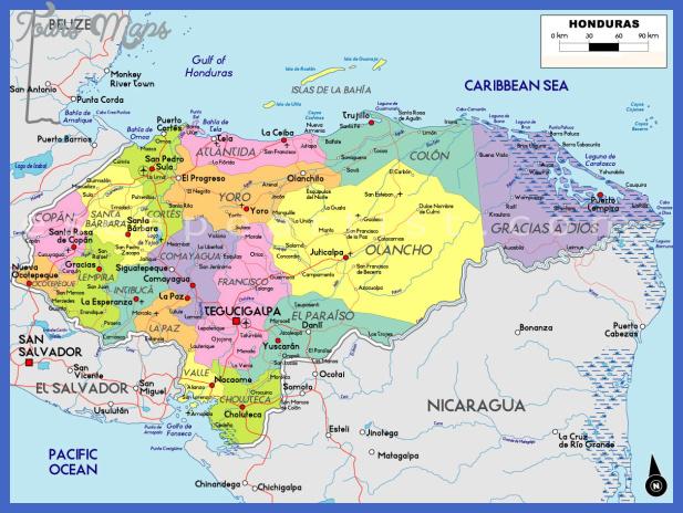 map of honduras1 Honduras Map