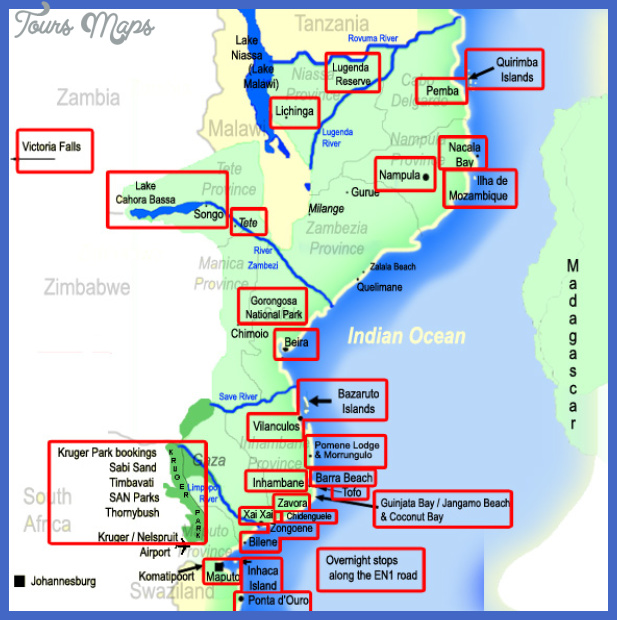map of mozambique africa Mozambique Map Tourist Attractions