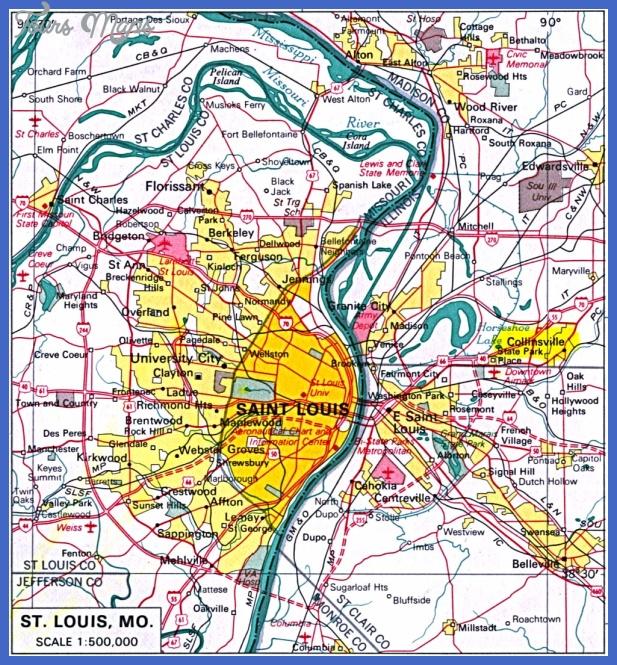 mapa de la ciudad de stlouis missouri estados unidos 8519 1 St. Louis Map