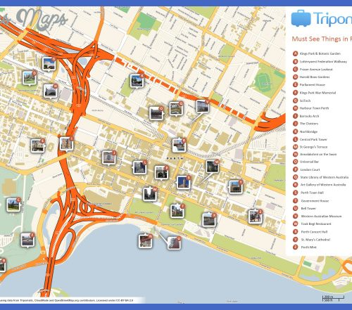 Map of Perth Attractions | Tripomatic