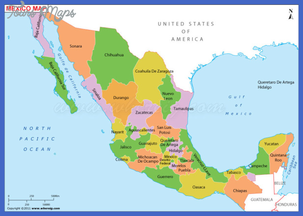 mexico map state colour Mexico Map