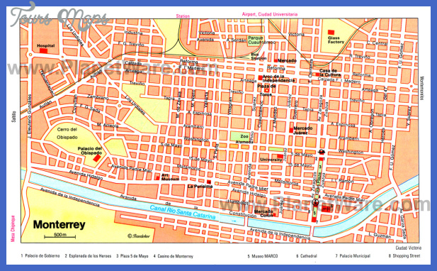 monterrey map 1 Guadalajara Map Tourist Attractions