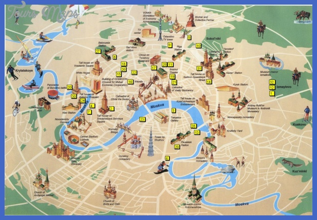 moscow map tourist attractions  0 Moscow Map Tourist Attractions