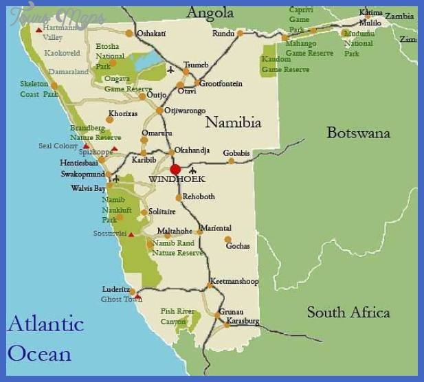 namibia map Harare Map Tourist Attractions