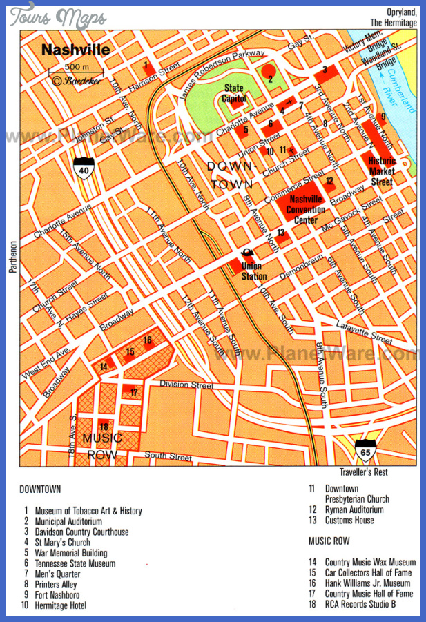 NashvilleDavidson Map Tourist Attractions ToursMapsCom – Nashville Tourist Attractions Map
