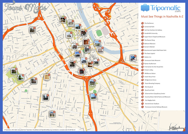 nashville attractions map small Tulsa Map Tourist Attractions