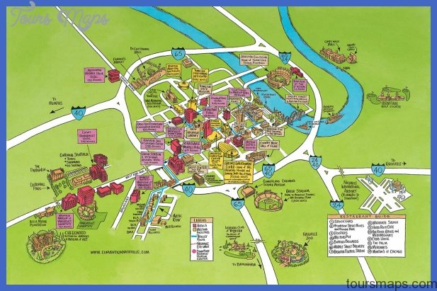 NashvilleDavidson Map Tourist Attractions ToursMapsCom – Tourist Map Of Nashville