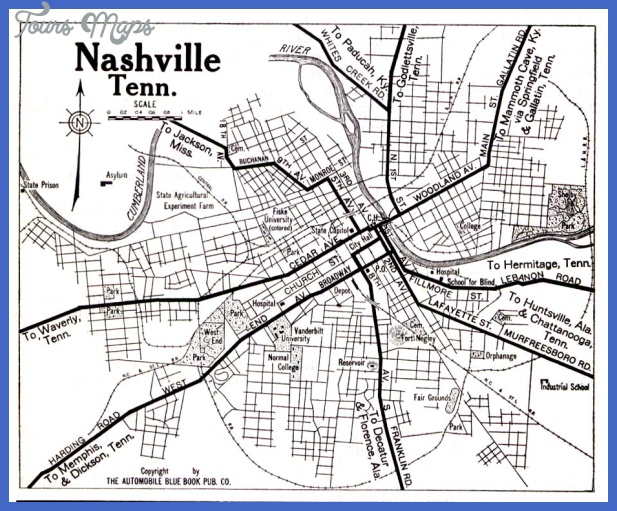 nashville tn 1919 Nashville Davidson Map Tourist Attractions
