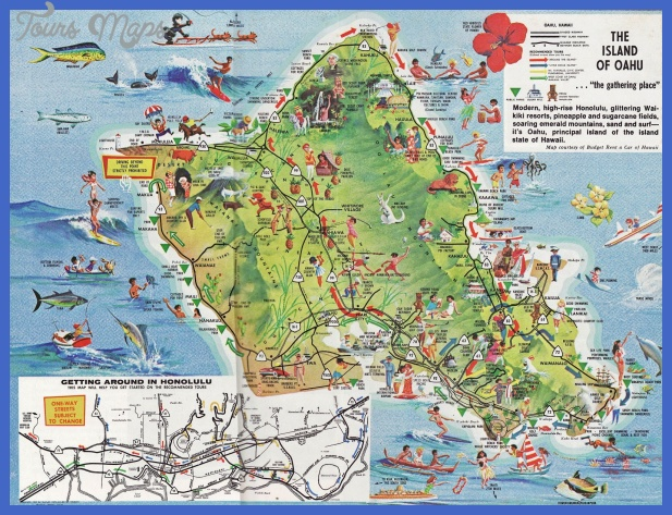Urban Honolulu Map Tourist Attractions ToursMapsCom – Tourist Map Of Oahu