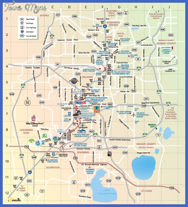 orlando tourist attractions map Charlotte Map Tourist Attractions