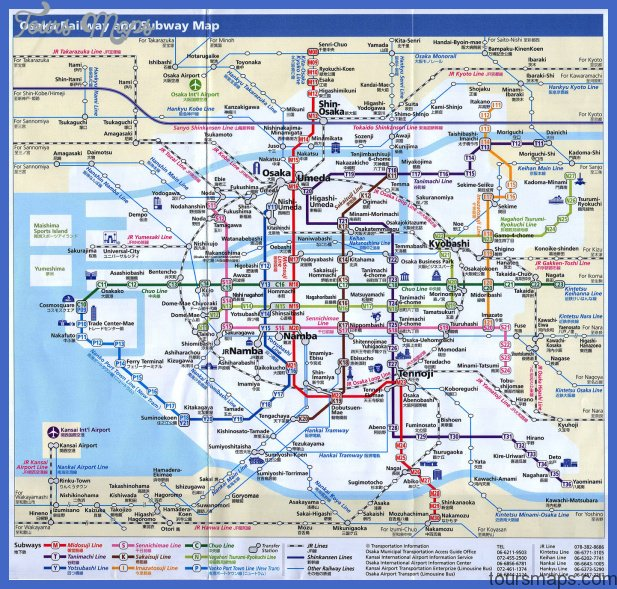 Osaka map with railway and subway