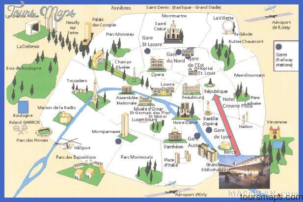 ... bird's eye view - Paris top tourist attractions map - High resolution