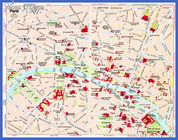 Paris Map Tourist Attractions ToursMapsCom – Map Of Central Paris Tourist