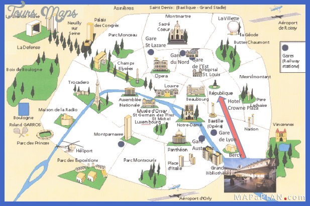 paris top tourist attractions map 10 landmarks aerial birds eye view high resolution Paris Map