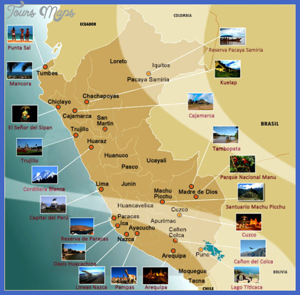 peru tourist attractions map Peru Map Tourist Attractions