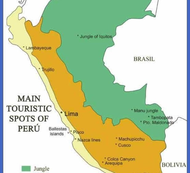 Peru Map Tourist Attractions ToursMapsCom – Peru Tourist Attractions Map